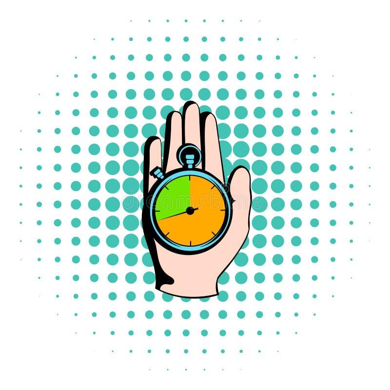 Entregue guardar um ícone do cronômetro, estilo da banda desenhada ilustração do vetor