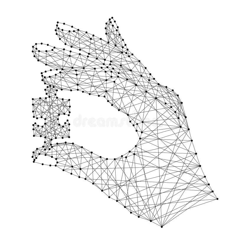 Entregue guardar um enigma do preto poligonal futurista abstrato ilustração do vetor