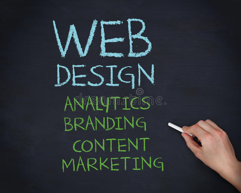 Entregue guardar um giz e a escrita de termos do design web imagens de stock royalty free