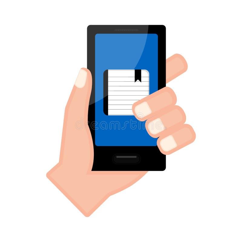 Entregue guardar um smartphone com uma agenda app ilustração stock