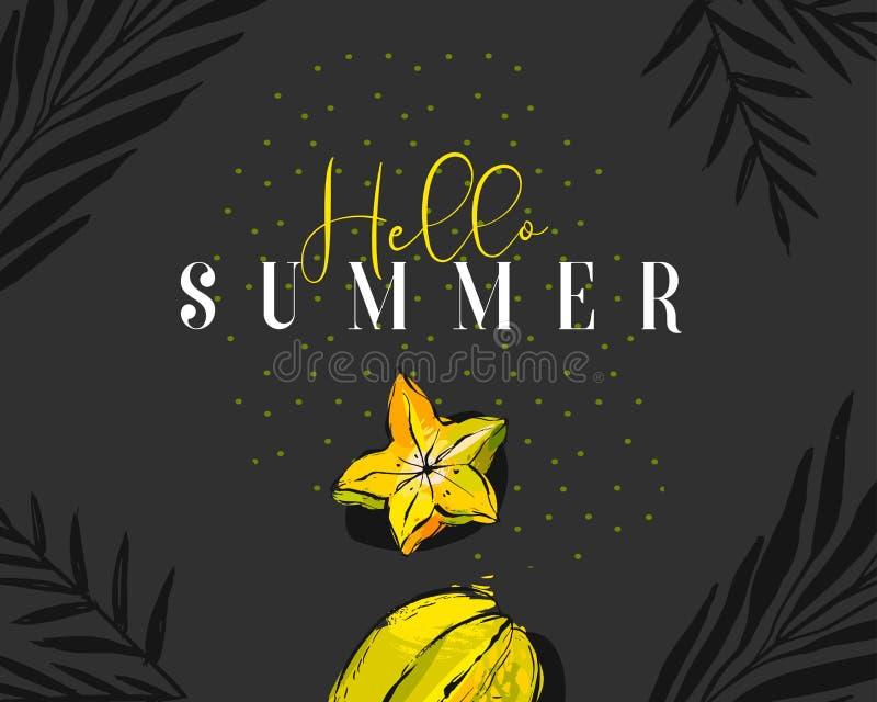 Entregue a horas de verão tiradas do sumário do vetor o encabeçamento criativo com o carambola do fruto tropical, folhas de palme ilustração stock