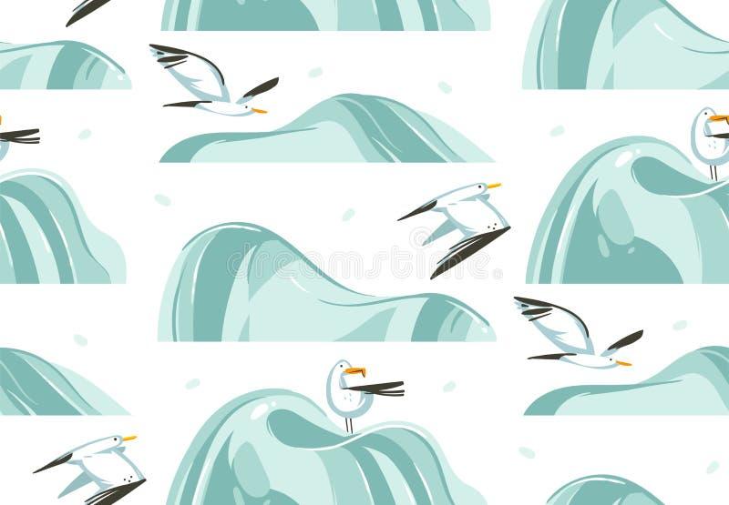 Entregue a horas de verão tiradas dos desenhos animados do sumário do vetor ilustrações gráficas teste padrão sem emenda artístic ilustração do vetor