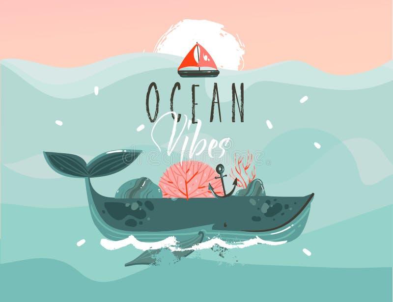 Entregue a horas de verão tiradas dos desenhos animados do sumário do vetor o fundo gráfico com as ondas de oceano azuis, baleia  ilustração royalty free