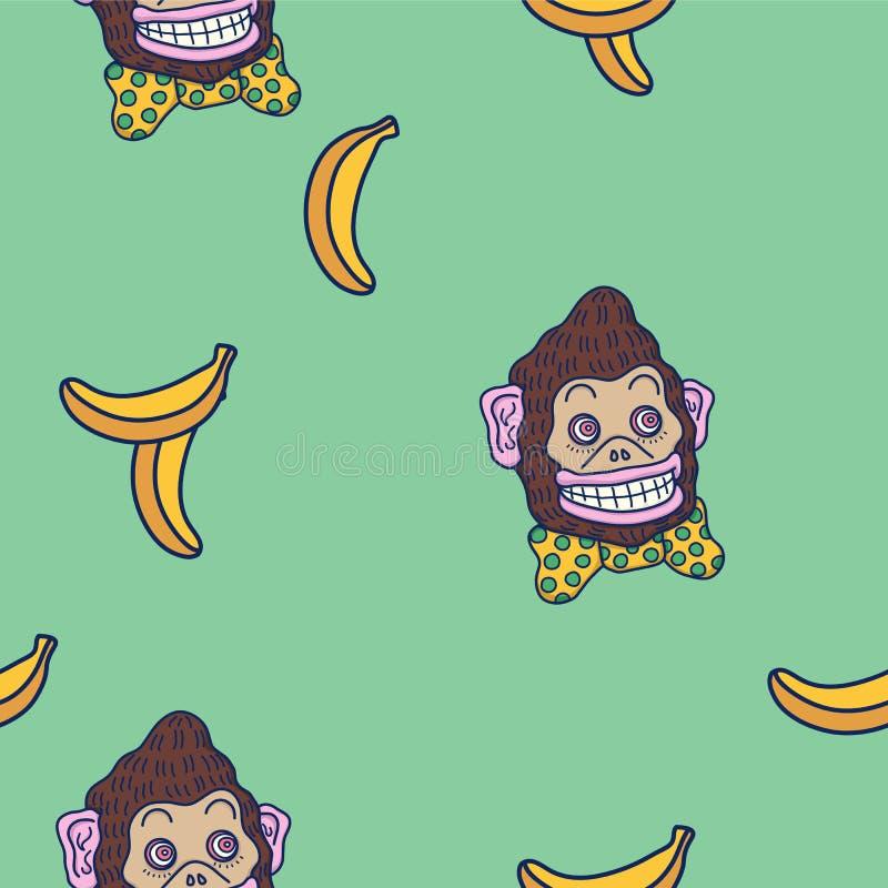 Entregue a ilustração colorida tirada do fundo do vetor do macaco marrom engraçado louco do circo com laço amarelo e das bananas ilustração do vetor