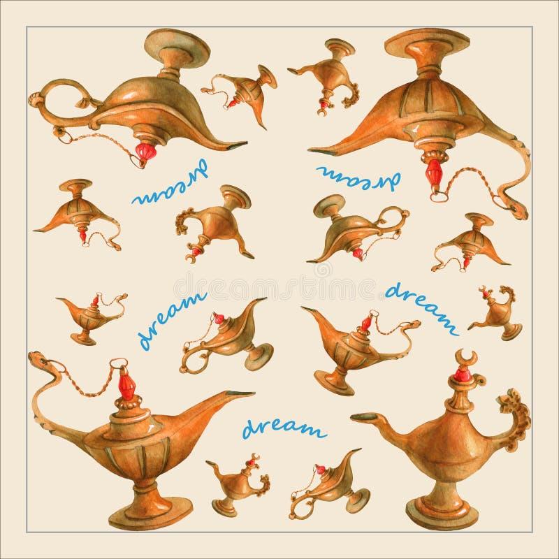 Entregue a ilustração da aquarela da lâmpada dos gênios de Aladdin mágico ilustração do vetor