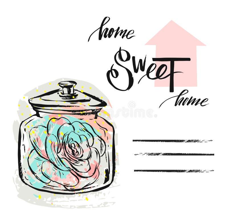Entregue a ilustração textured sumário tirada do vetor com a planta suculento no frasco de vidro e em caligrafia moderna escrita  ilustração stock