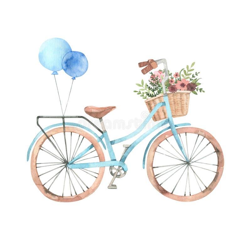 Entregue a ilustração tirada da aquarela - bicicleta romântica com flor b ilustração royalty free