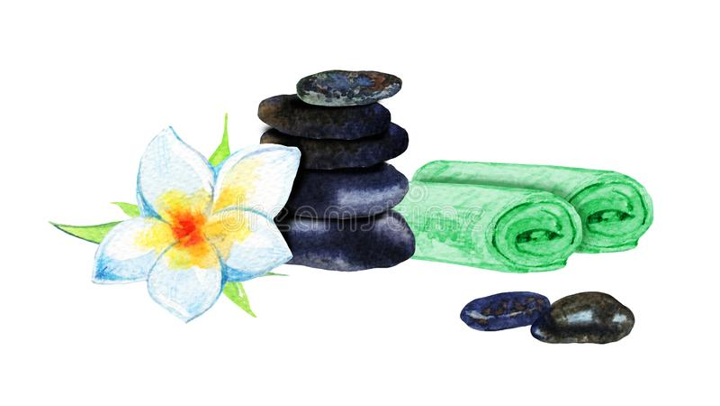 Entregue a ilustração tirada da aquarela das toalhas, da pirâmide das pedras e da flor branca para o spa resort do bem-estar ilustração do vetor