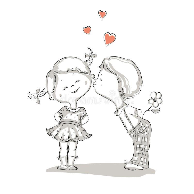 Entregue a ilustração tirada de beijar o menino e a menina ilustração stock