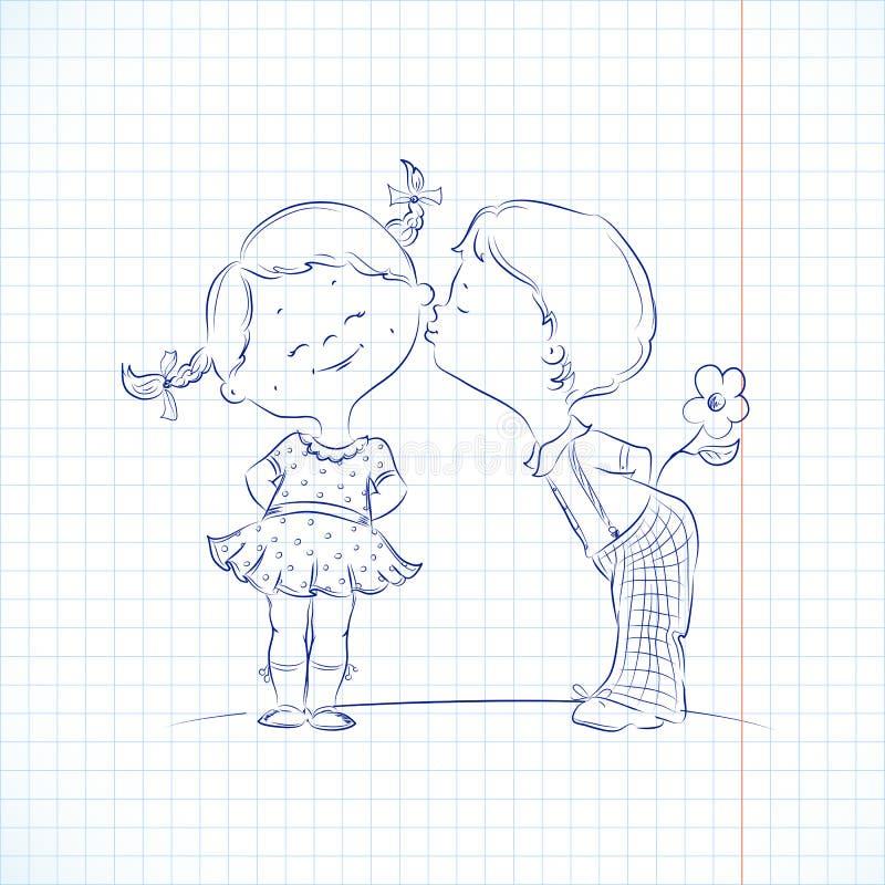 Entregue a ilustração tirada de beijar o menino e a menina ilustração do vetor