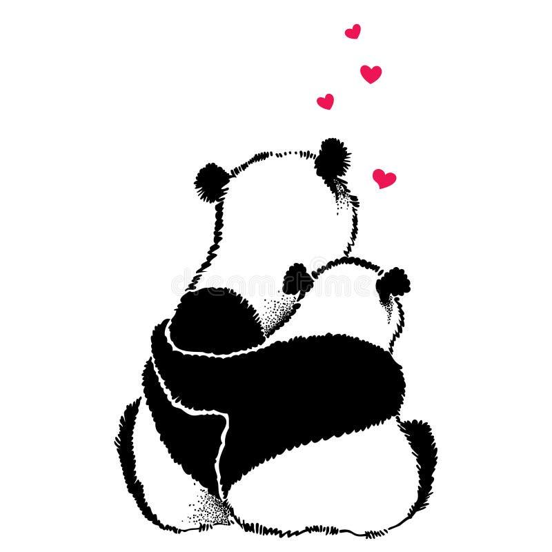 Entregue a ilustração tirada de pares da panda no amor ilustração royalty free