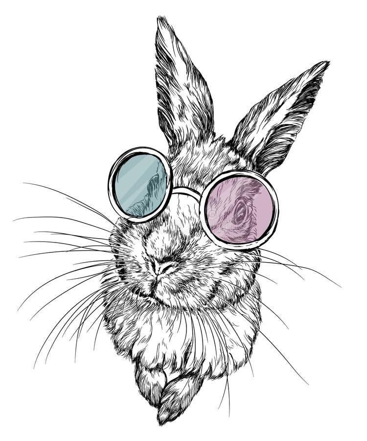 Entregue a ilustração tirada de um coelho nos vidros ilustração royalty free