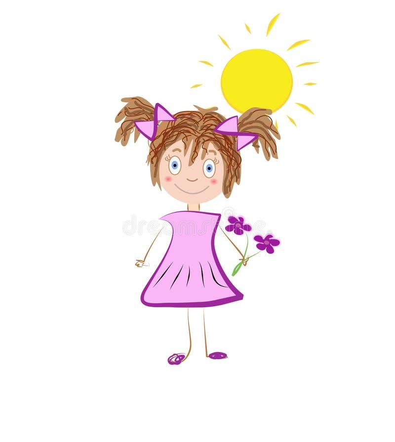 Entregue a ilustração tirada de uma menina que cheira flor violeta ou cor-de-rosa ilustração royalty free