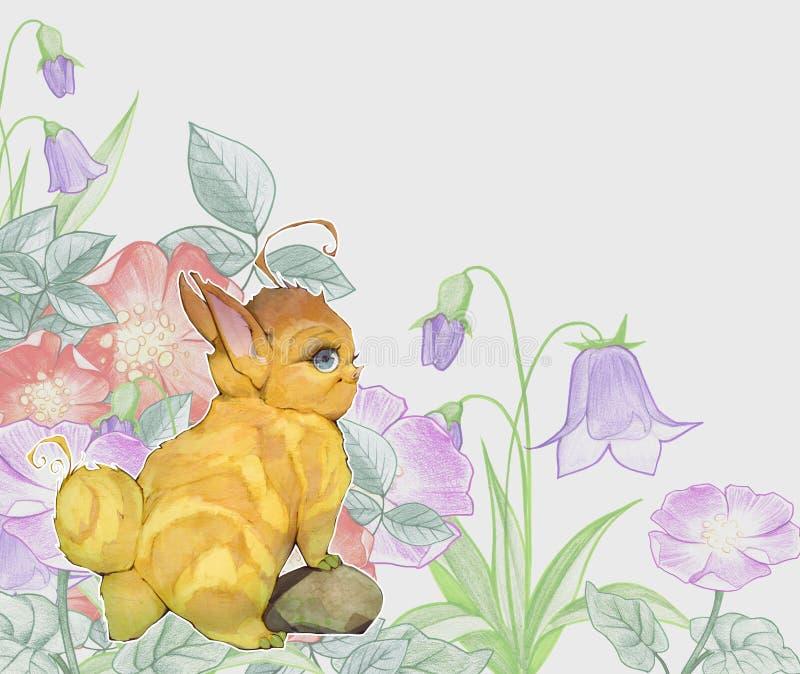 Entregue a ilustração tirada do anime dos desenhos animados dos animais bonitos de um bebê da fantasia que olham como coelhos ilustração stock