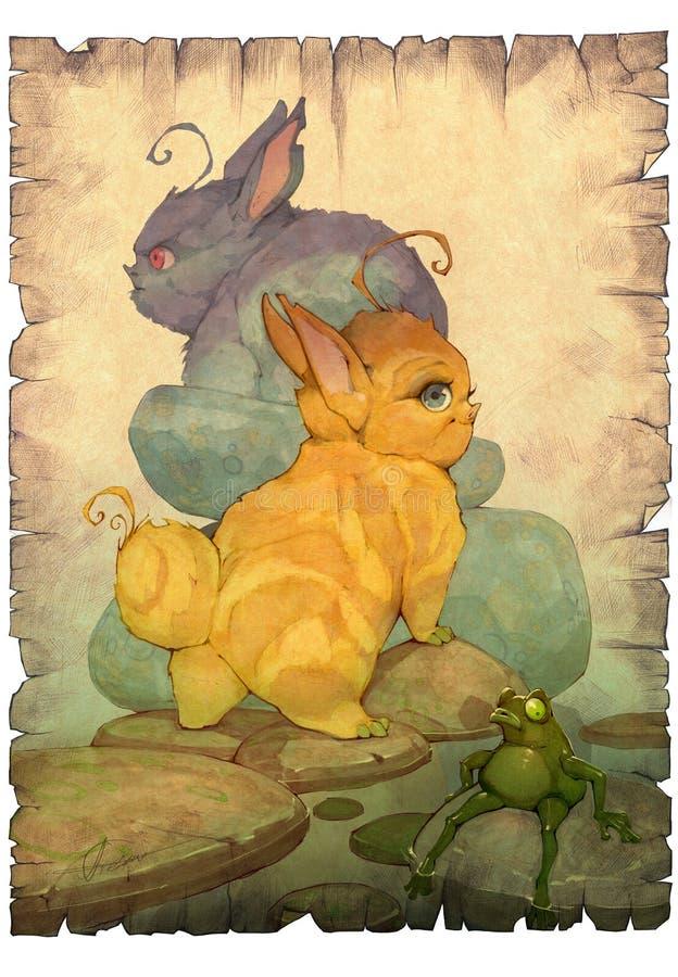 Entregue a ilustração tirada do anime dos desenhos animados dos animais bonitos de um bebê da fantasia que olham como coelhos ilustração do vetor