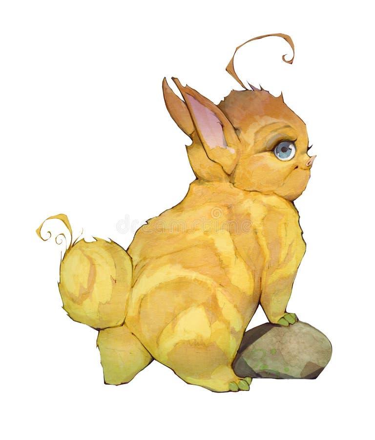 Entregue a ilustração tirada do anime dos desenhos animados dos animais bonitos de um bebê da fantasia que olham como coelhos ilustração royalty free