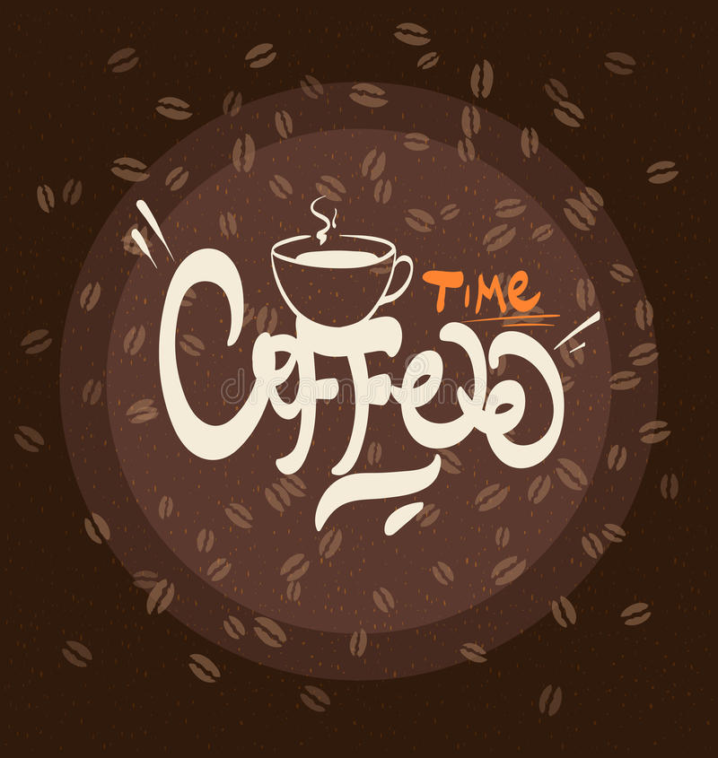 Entregue a ilustração tirada do cartaz do café da tipografia - vetor ilustração do vetor