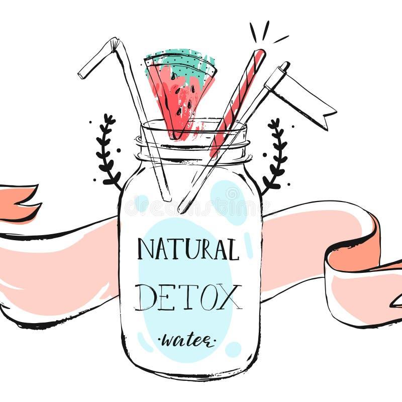 Entregue a ilustração tirada do encabeçamento da limonada das horas de verão do sumário do vetor com o frasco da garrafa de vidro ilustração do vetor