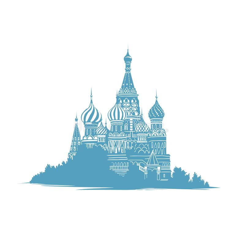 Entregue a ilustração tirada do estilo do esboço da catedral das manjericões de Saint em Moscou, Rússia Marcos do russo Igreja or ilustração stock