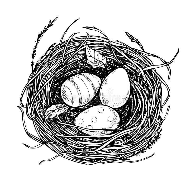 Entregue a ilustração tirada do vetor - aninhe com ovos da páscoa Ea feliz ilustração royalty free