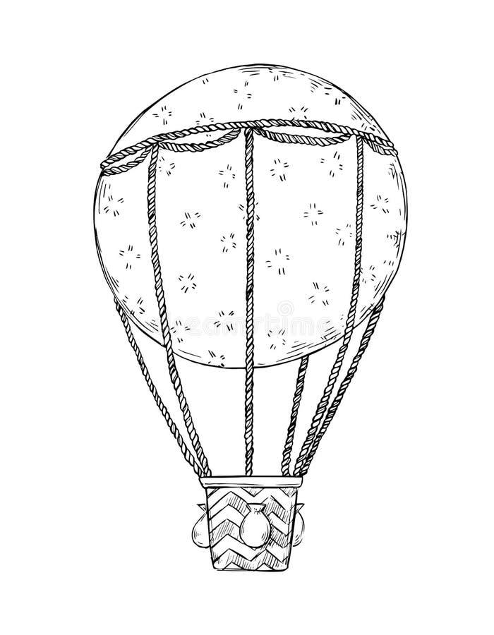 Entregue a ilustração tirada do vetor - balão de ar quente no céu por ilustração do vetor