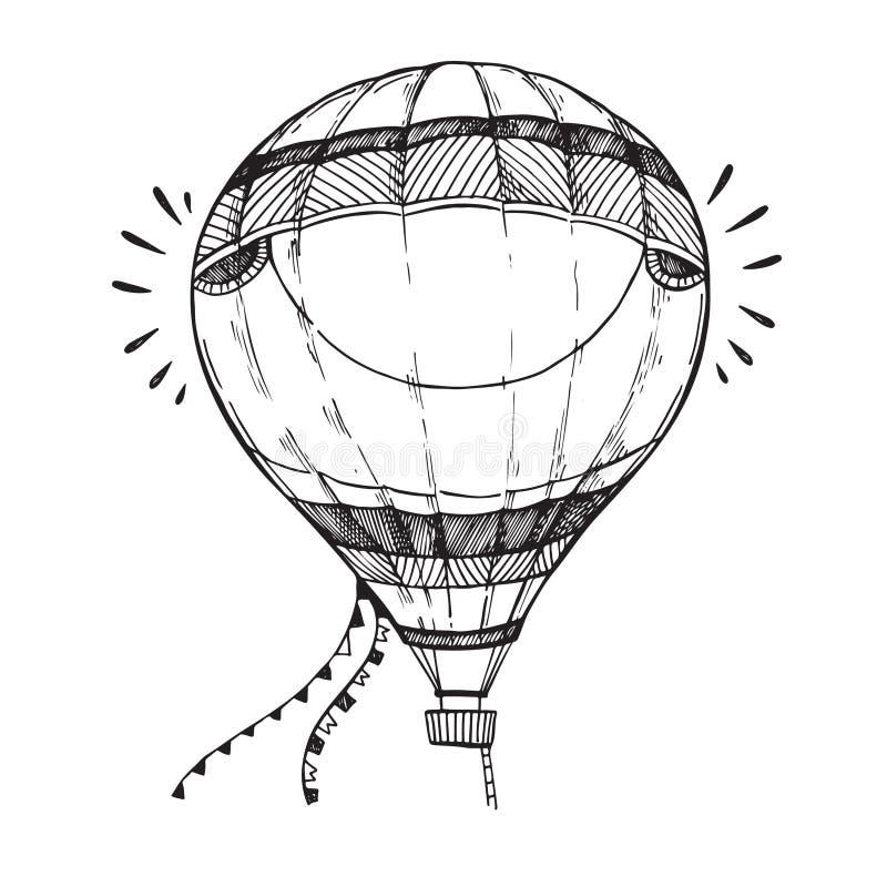Entregue a ilustração tirada do vetor - balão de ar quente no céu Ske ilustração stock