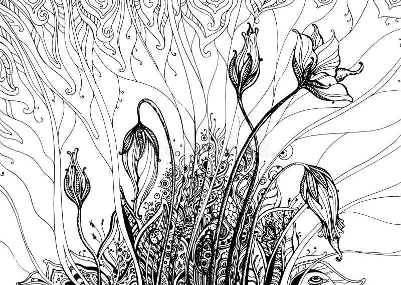 Entregue a ilustração tirada do vetor com as flores da fantasia da garatuja ilustração do vetor