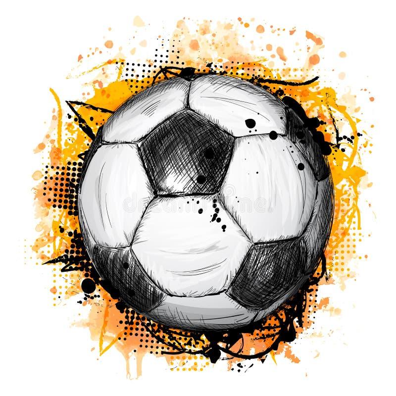 Entregue a ilustração tirada do vetor com bola de futebol e grunge ilustração stock
