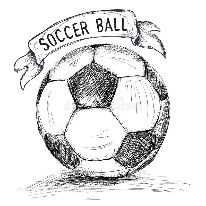 Entregue a ilustração tirada do vetor com bola e bandeira de futebol ilustração royalty free