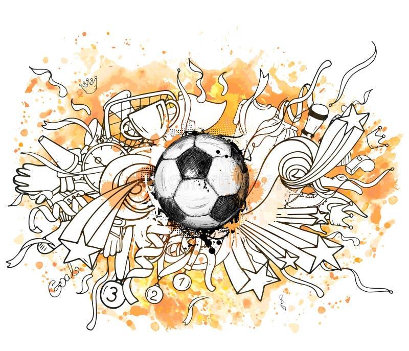 Entregue a ilustração tirada do vetor com bola e decoração de futebol ilustração do vetor
