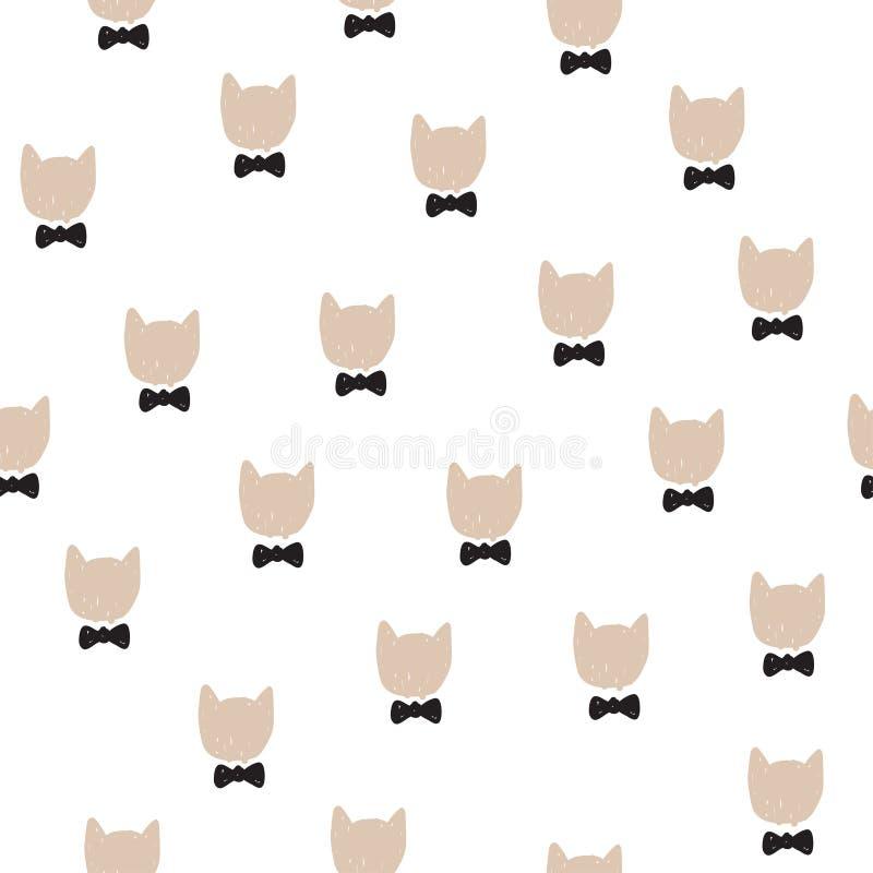 Entregue a ilustração tirada do vetor com cabeça bonito dos gatos no laço Teste padrão sem emenda dos desenhos animados ilustração royalty free