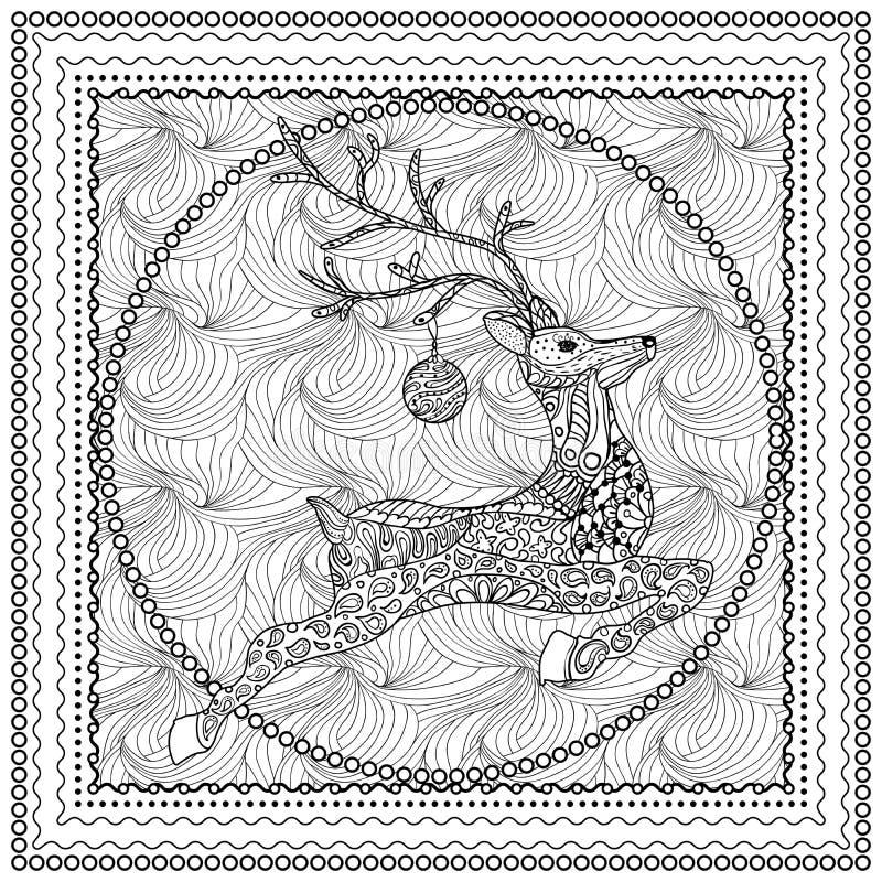 Entregue a ilustração tirada do vetor da silhueta de salto dos cervos com ornamento decorativo, cartão do Feliz Natal Vetor ilustração stock