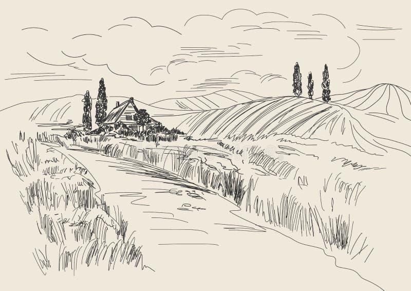 Entregue a ilustração tirada do vetor de campos de trigo e de casa da vila Desenho da tinta no estilo do vintage ilustração royalty free