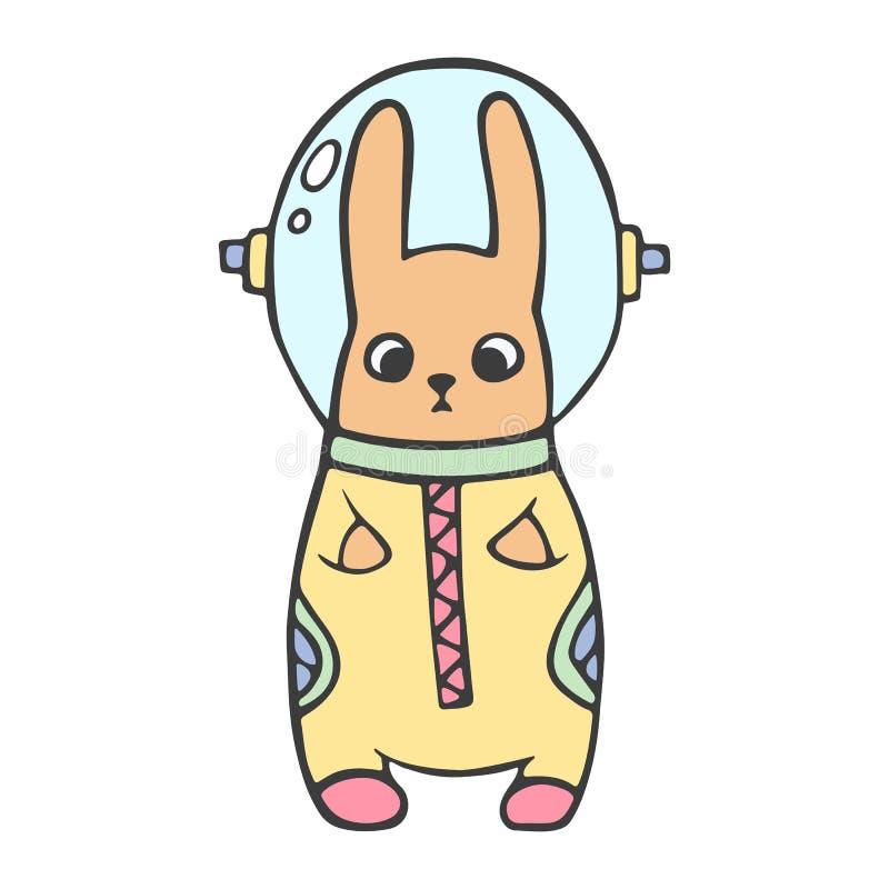 Entregue a ilustração tirada do vetor de um coelho bonito no espaço Objetos isolados Projeto liso do estilo escandinavo Conceito  foto de stock