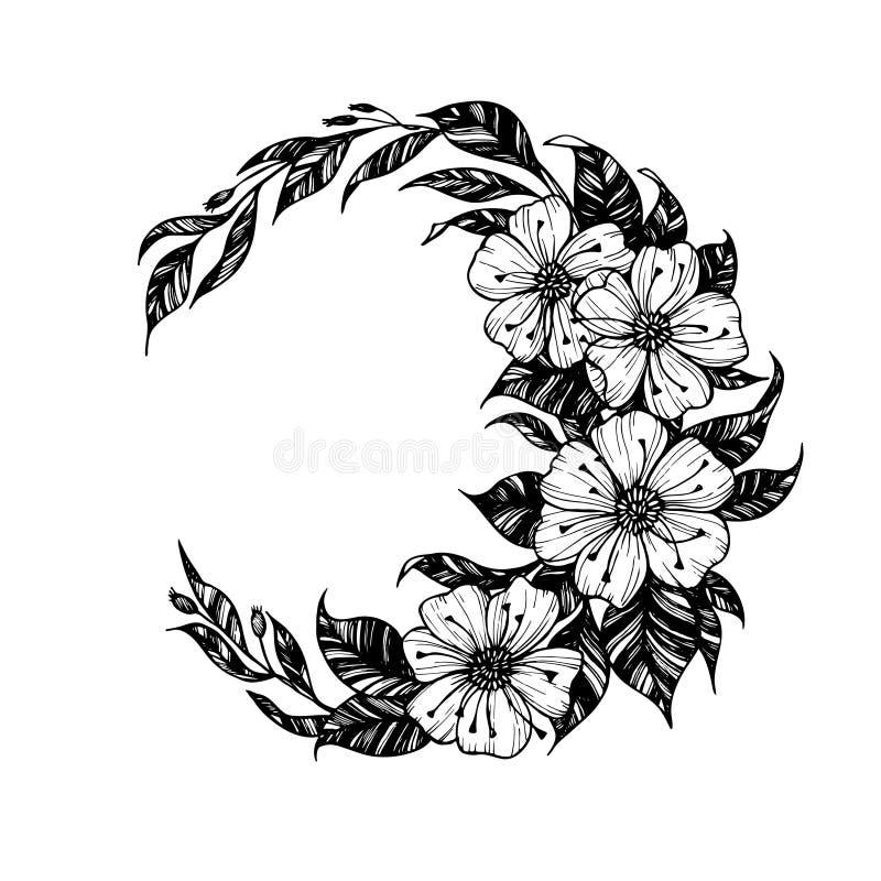 Entregue a ilustração tirada do vetor - moon o sinal com flores e leav ilustração royalty free