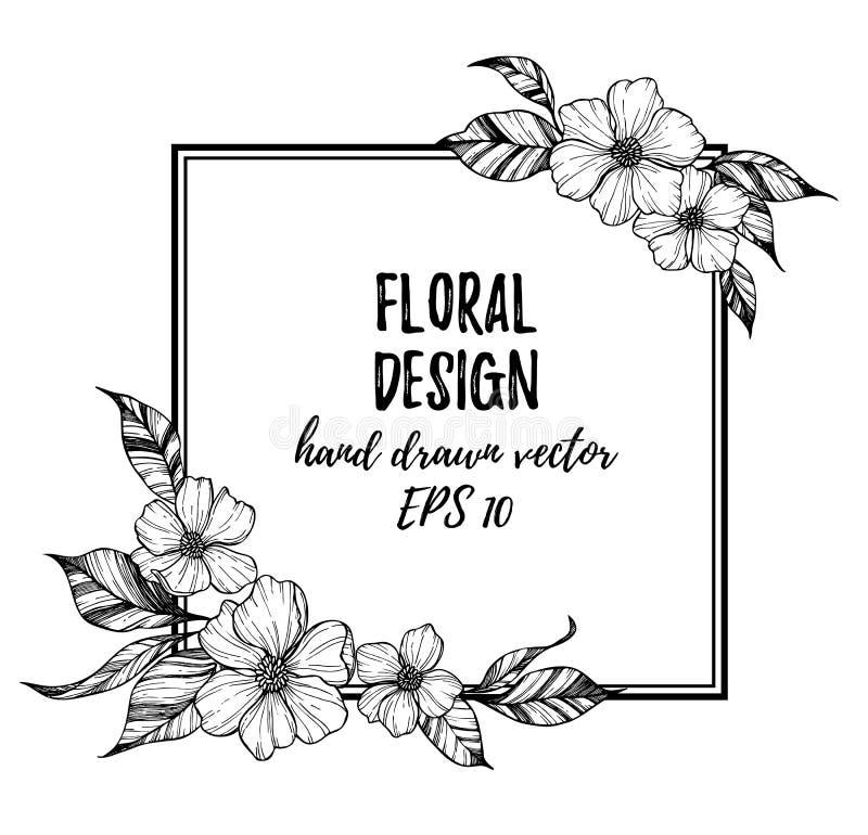Entregue a ilustração tirada do vetor - quadro com flores e folhas ilustração stock