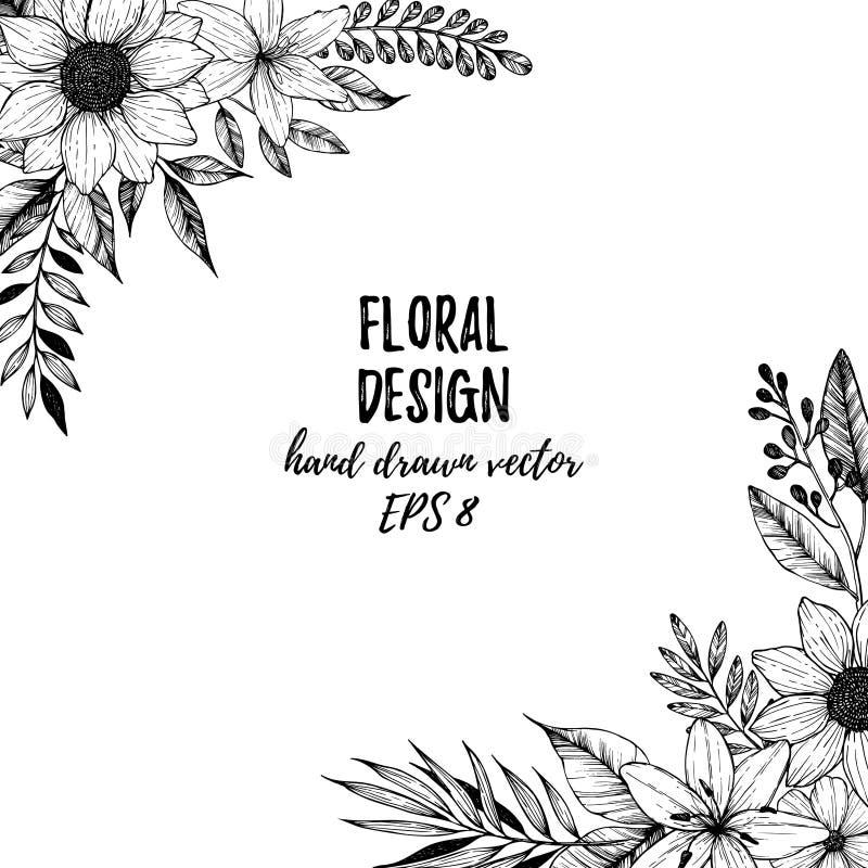 Entregue a ilustração tirada do vetor - quadro quadrado com flores e l ilustração do vetor