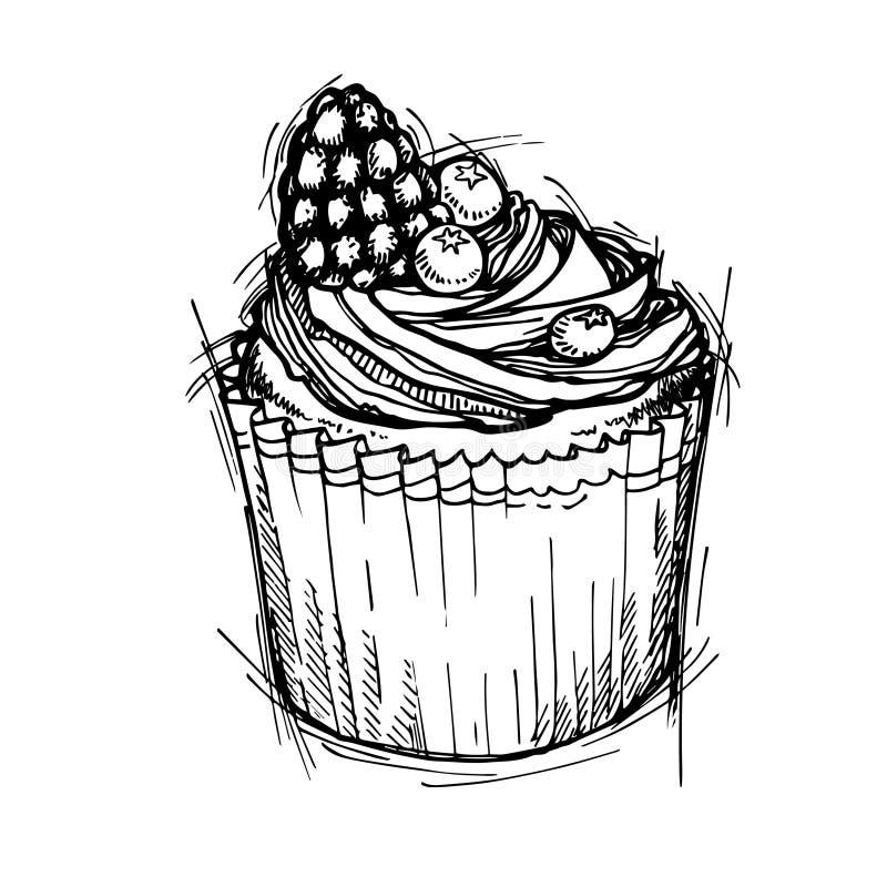 Entregue a ilustração tirada do vetor - queque doce com amora-preta a ilustração stock