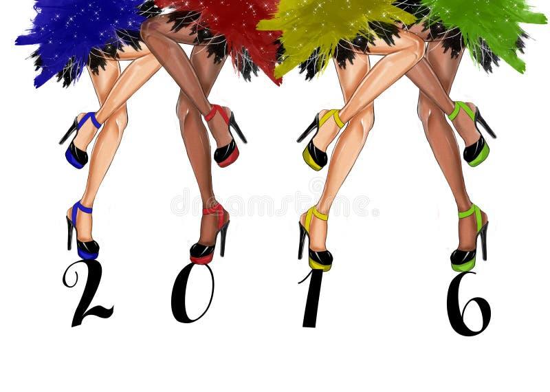 entregue a ilustração tirada dos pés da dança - CARTÃO da forma do ANO NOVO ilustração stock