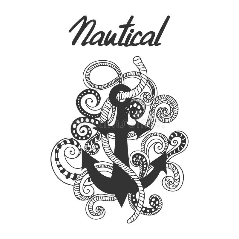 Entregue a ilustração tirada, rabiscada da âncora, as cordas e os redemoinhos Etiqueta náutica com âncora ilustração do vetor