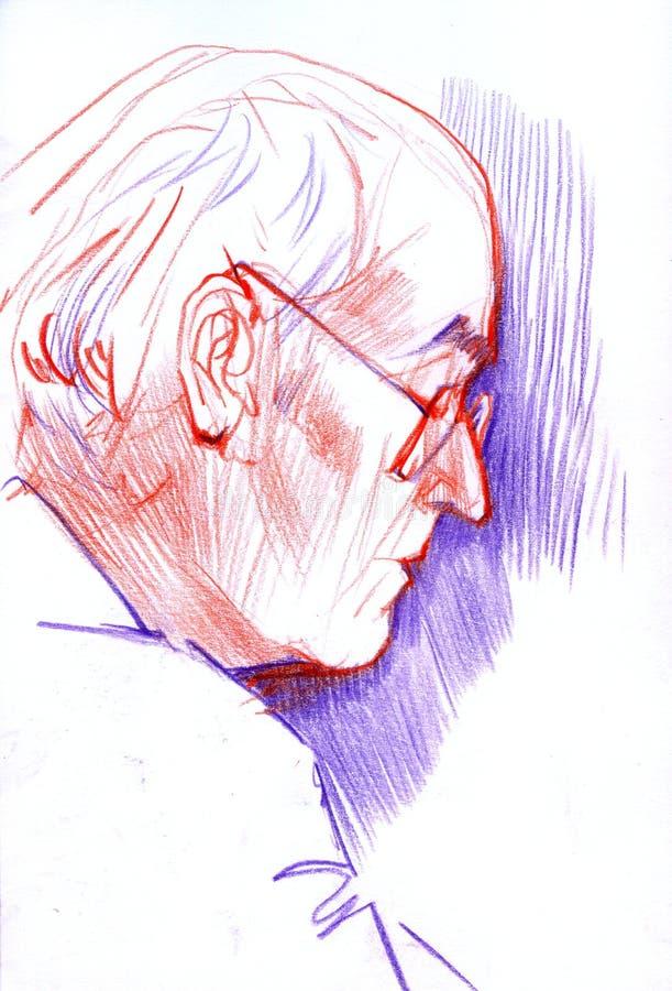 Entregue a imagem do desenho, técnica do lápis da cor, velha equipa o retrato ilustração stock