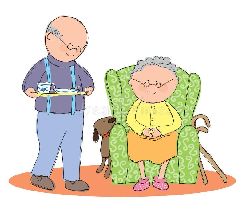 Vida idosa ilustração royalty free