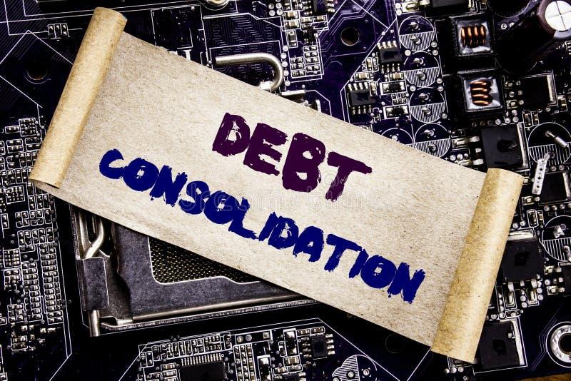 Entregue a inspiração do subtítulo do texto da escrita que mostra a consolidação de débito Conceito do negócio para o crédito do  foto de stock