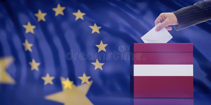Entregue a introdução de um envelope em uma urna de voto da bandeira de Letónia no fundo da bandeira da União Europeia ilustração ilustração royalty free