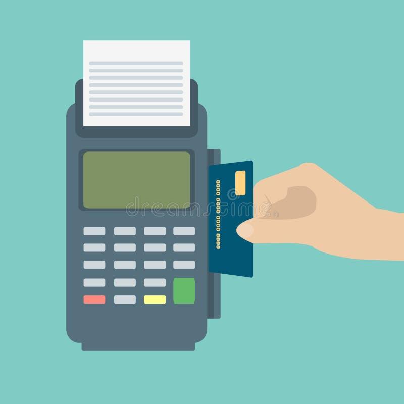 Entregue a introdução do cartão de crédito a um terminal da posição Terminal do pagamento Vetor liso do projeto ilustração do vetor