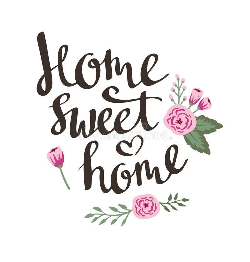 Entregue a jardim tirado o cartão floral com casa à moda do doce da casa da rotulação ilustração stock