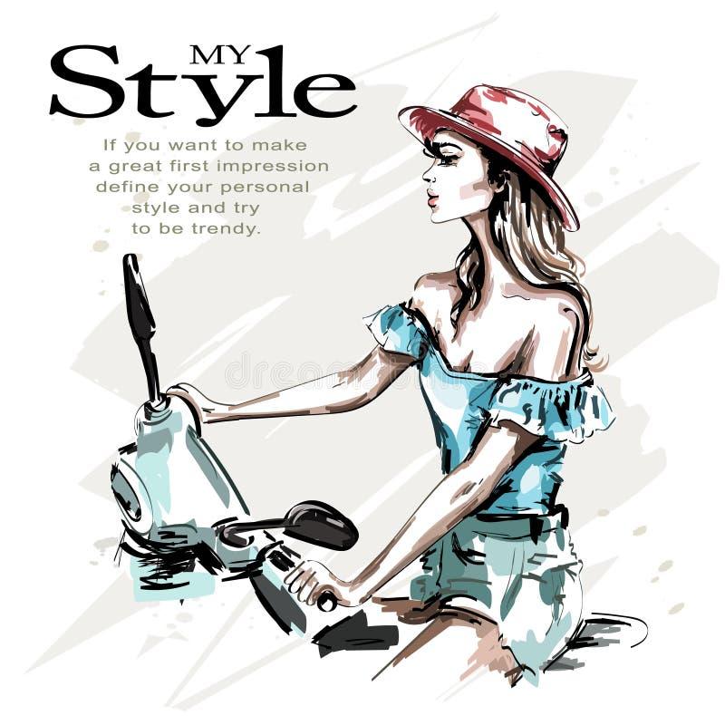 Entregue a jovem mulher bonita tirada no chapéu com 'trotinette' Equitação da mulher da forma Menina à moda na roupa da forma ilustração do vetor
