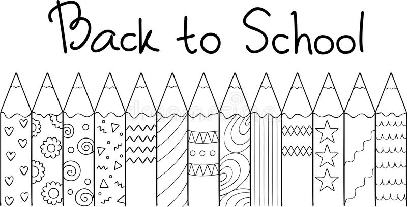 Entregue lápis coloridos tirados com letras tiradas mão de volta à escola, para o elemento do projeto e o livro para colorir para ilustração do vetor
