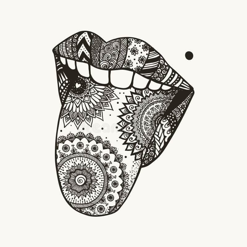 Entregue a língua tirada da mulher do zendoodle para fora para a tatuagem, projeto do t-shirt ilustração royalty free