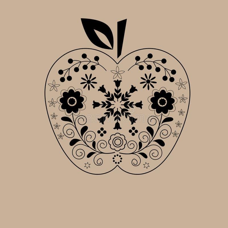 Entregue a laço tirado do preto da maçã o ornamento floral fundo bege imprimível, decoração interior home, molde do cartão ilustração do vetor